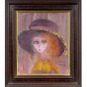 織田廣喜「少女(黄色の花飾りの帽子)」のサムネイル画像