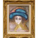 織田廣喜「少女(青い帽子)」のサムネイル画像