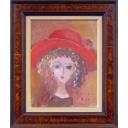 織田廣喜「少女(赤い帽子2)」のサムネイル画像