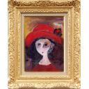 織田廣喜「少女(赤い帽子4)」のサムネイル画像