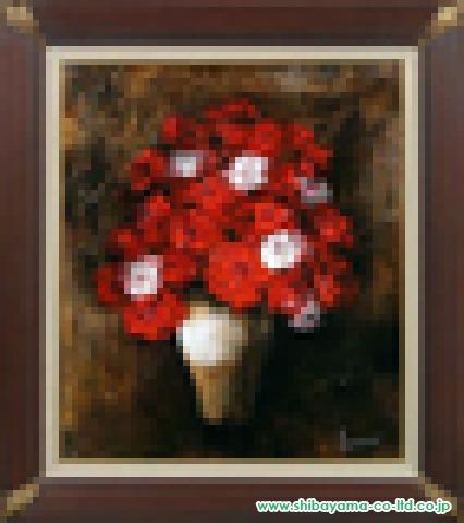 立川広己 油彩画10号『紅白薔薇』