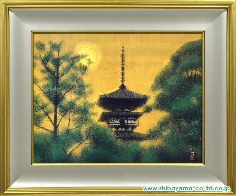 平山郁夫「木の間の塔 薬師寺」岩絵具方式