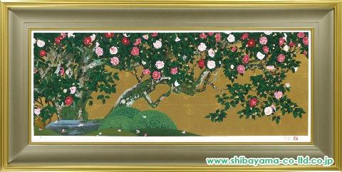 森田りえ子「柊野五色椿2」シルクスクリーン