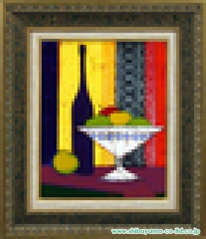 ボナフェ「青と白の果物皿」油彩6号
