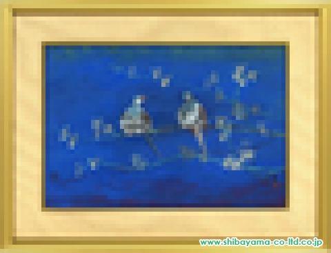 稗田一穂「うす雪鳩」s日本画12号