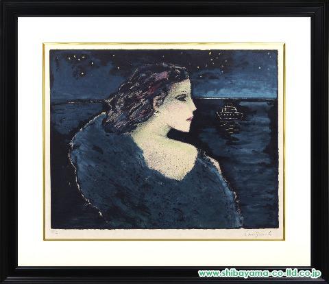 カシニョール「夜の海」sリトグラフ