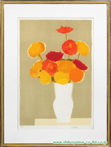 カトラン「 白い花瓶の百日草とインドバラ2」sリトグラフ