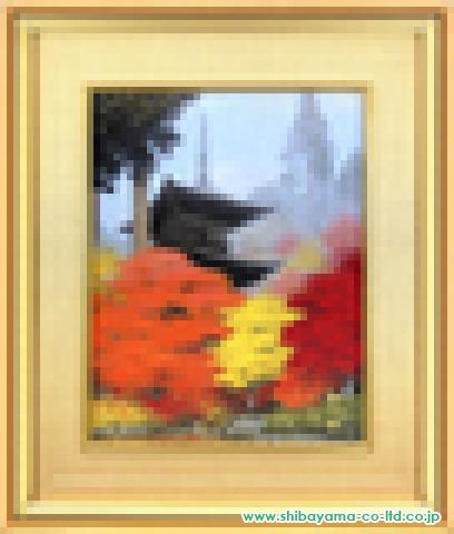 中路融人「錦秋の塔」日本画10号