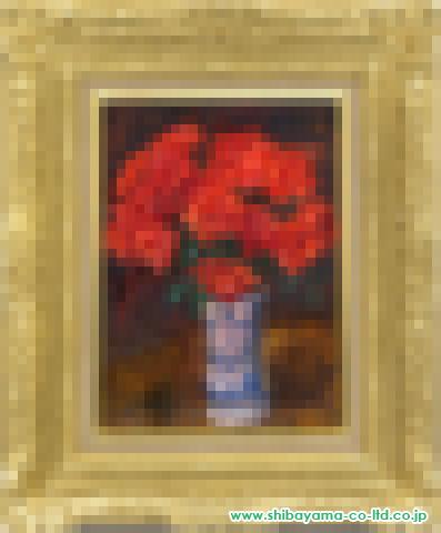 刑部人「赤いバラ」s油彩4号