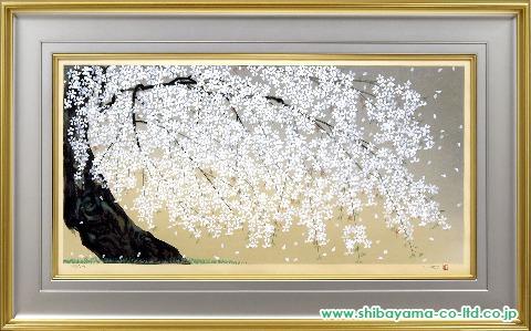 中島千波「枝垂桜」s木版