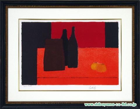 カトラン「赤いテーブルと柿」sリトグラフ