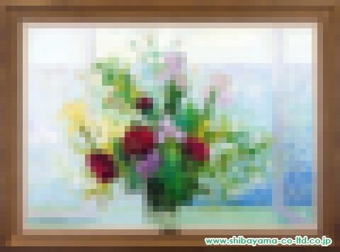 ミッシェル・アンリ「花瓶のブーケ」s油彩