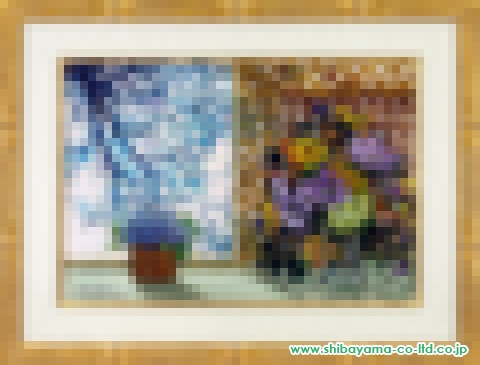 ミッシェル・アンリ「窓辺の花」油彩