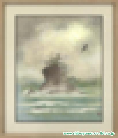 吉田多最「雨晴海岸」s日本画15号
