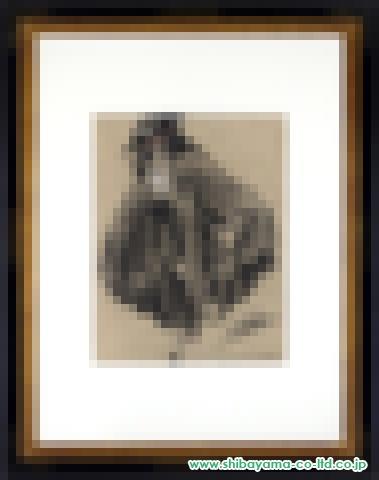 ルイ・イカール「黒いマントの女」リトグラフ・パステル