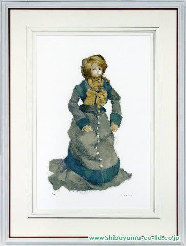小磯良平「青いコスチュームの人形」sリトグラフ