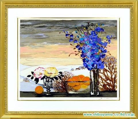 ミッシェル・アンリ「オレンジのある静物」sシルクスクリーン