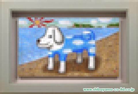 肥沼守「浜辺の犬」油彩M6号