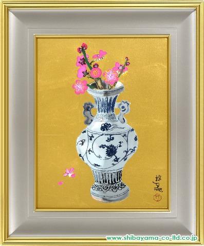 小倉遊亀「瓶花(壺に紅梅)1994年リトグラフ