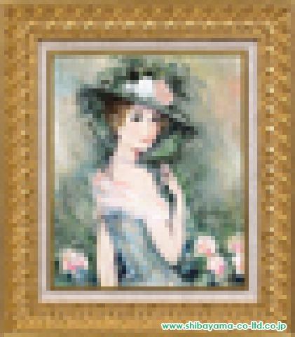 ベルナール・シャロワ 緑の帽子の女性 油彩8号