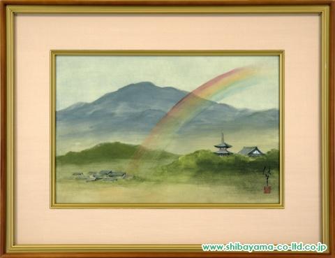 岡信孝「京の虹」日本画P6号