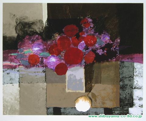 武井政之「赤と白の不思議なブーケ」シルクスクリーン