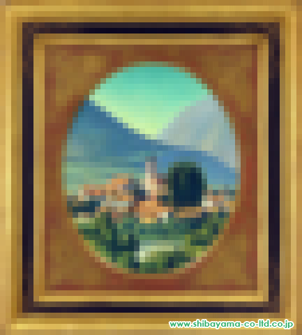 中根寛「塔の見える風景」s油彩