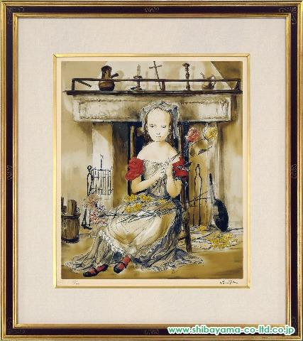 藤田嗣治「暖炉の前の少女」s複製版画・シルクスクリーン
