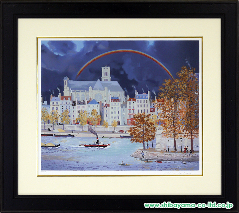 ミッシェル・ドラクロワ「虹のかかる教会」sシルクスクリーン