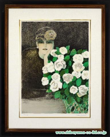 ジャン=ピエール・カシニョール「白いバラ」sリトグラフ