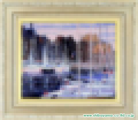 島田三郎「オンフルールのヨットハーバー」s油彩6号
