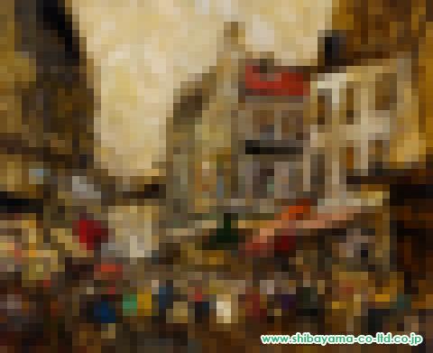 児玉幸雄「パリ―の朝市」油彩15号