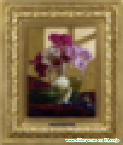 青木敏郎「白デルフトのカトレア」油彩6号