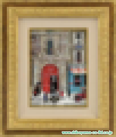 ミッシェル・ドラクロワ「プリンス通りの赤い扉」キャンバスボードにアクリル