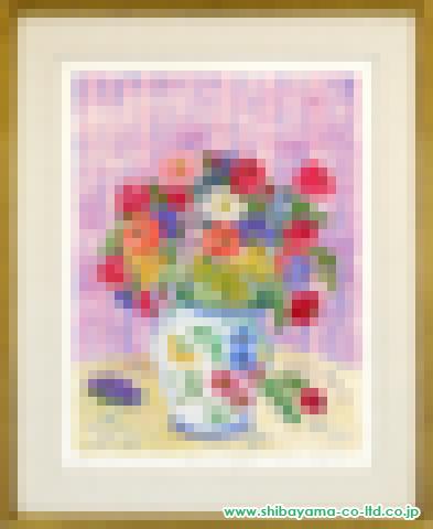 レスリー・セイヤー「ブルーミングブーケ」エッチング+手彩色