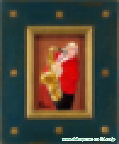 田中善明「サックスを吹く男」油彩15.0×10.5