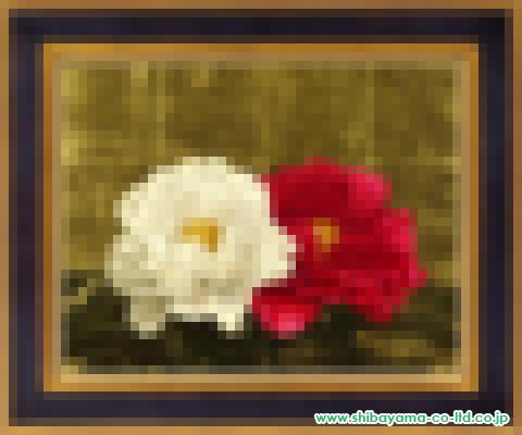 福田建之「紅白牡丹」油彩6号