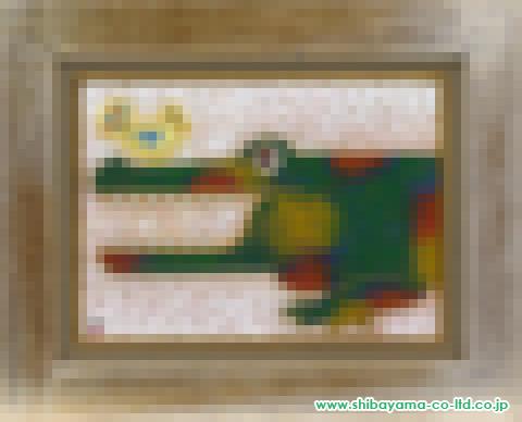 カネコミホ「小鳥とワニと」s油彩4号