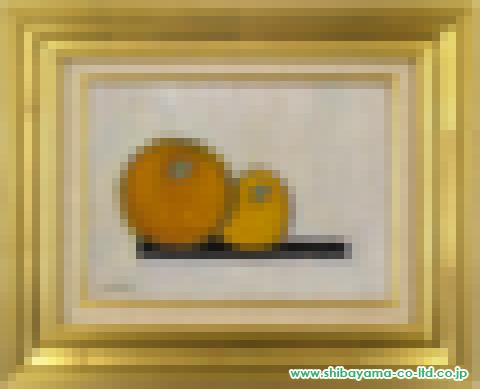 杉田洋一「台の上の果実」s油彩4号