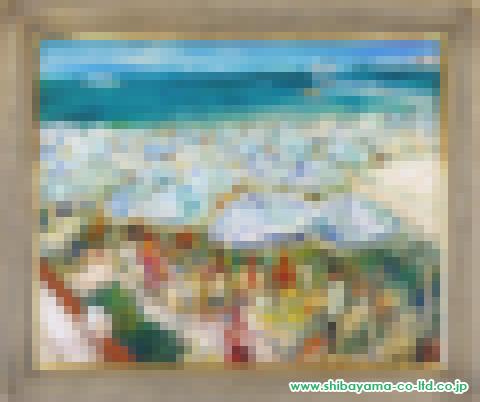 松井ヨシアキ「カンヌビーチ」s71×89油彩