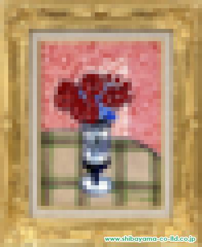 坂口紀良「卓上のバラ」油彩4号額
