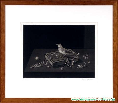 長谷川潔「本の上の小鳥」マニエルノワール (2)額