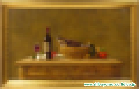 山下徹「カモのある卓上静物」油彩 変形30号
