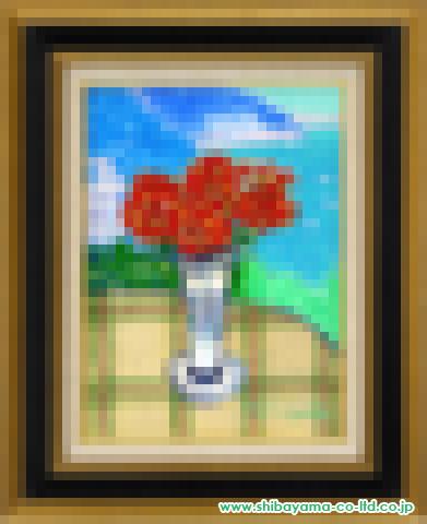 坂口紀良「アマルフィー海岸のバラのテラス」s油彩4号