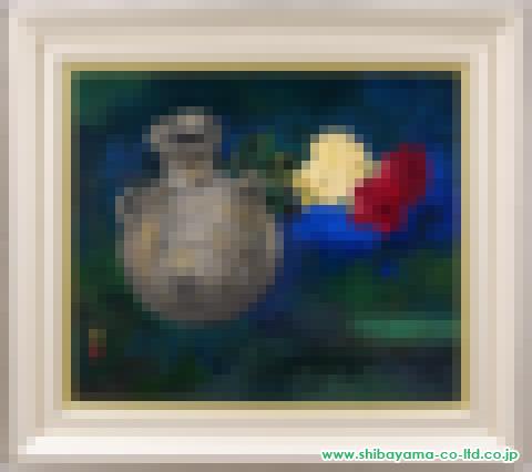 加藤東一「花と壷」s44.0×52