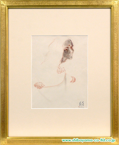 田村能里子「女性の横顔」sパステル+水彩