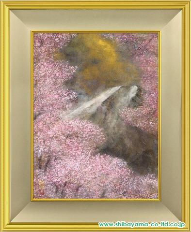 松本哲男「桜花富士」日本画12号