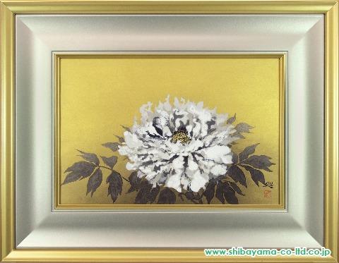加山又造「白牡丹」木版画2014