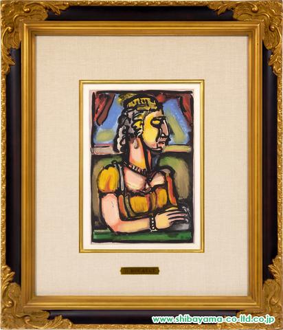 ルオー「羽根飾りをつけた婦人:「受難」より」sアクアチント